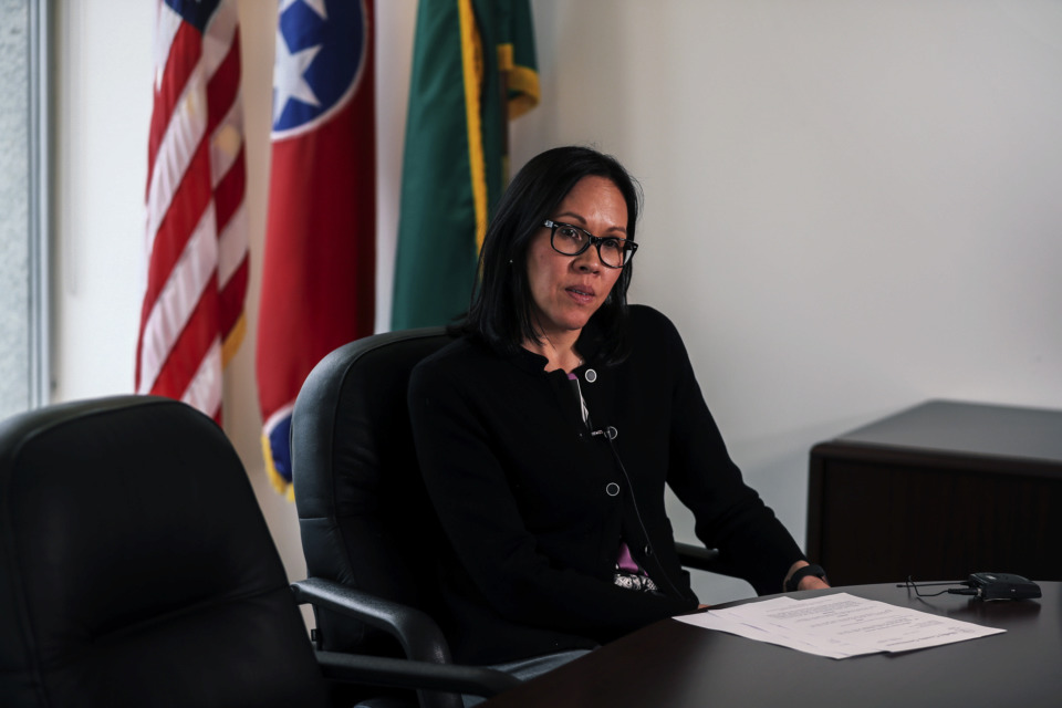<strong>Shelby County Attorney Marlinee Iverson spoke to the media on Thursday, Jan. 3, 2019, on the new state immigration law. The Shelby County Sheriff's Office plans to notify ICE when an illegal immigrant is arrested, but will not detain them after they make bond, which is contrary to the new law.</strong> (Houston Cofield/Daily Memphian)