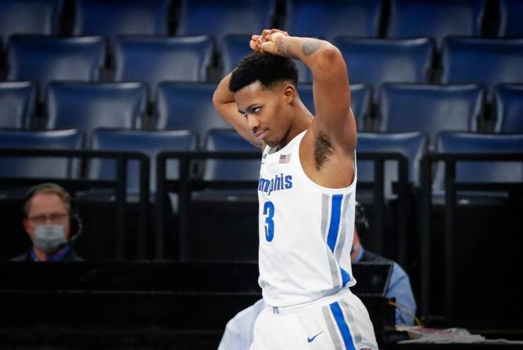A dejected Landers Nolley II walks down the court after losing the ball out of bounds against Tulsa last month. (Mark Weber/The Daily Memphian file)