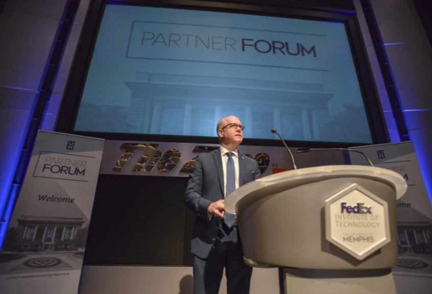 <strong>Ted Townsend, the University of Memphis'&nbsp;chief economic development and government relations officer, discusses the importance of partnerships between the U of M and private industry during the inaugural Partner ForUM on Thursday, April 18, 2019, at the FedEx Institute of Technology.&nbsp;</strong>(Photo courtesy of Brandon Dill)