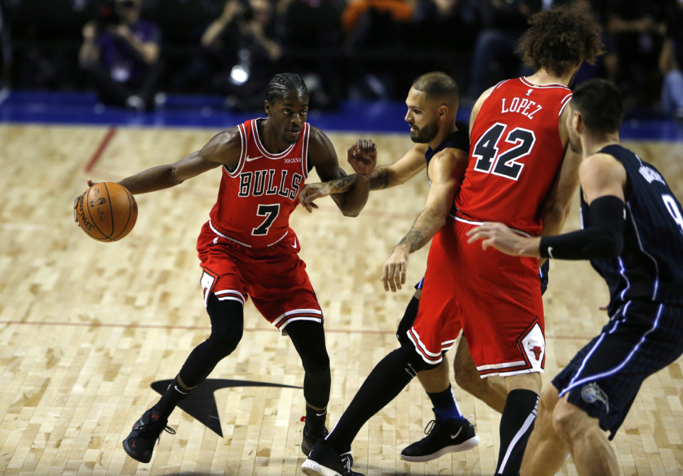 <span><strong>Chicago Bulls' Justin Holiday, 7, drives against Orlando Magic in their regular-season NBA basketball game in Mexico City, Thursday, Dec. 13, 2018.</strong> (AP Photo/Claudio Cruz)</span>
