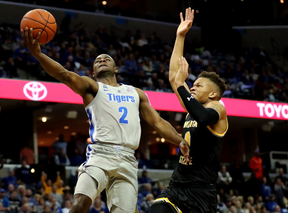 <strong>University of Memphis Tigers guard Alex Lomax (2) drives to the basket during a game against the Wichita State Shockers on Thursday, Jan. 3, 2019.</strong> (Houston Cofield/Daily Memphian)