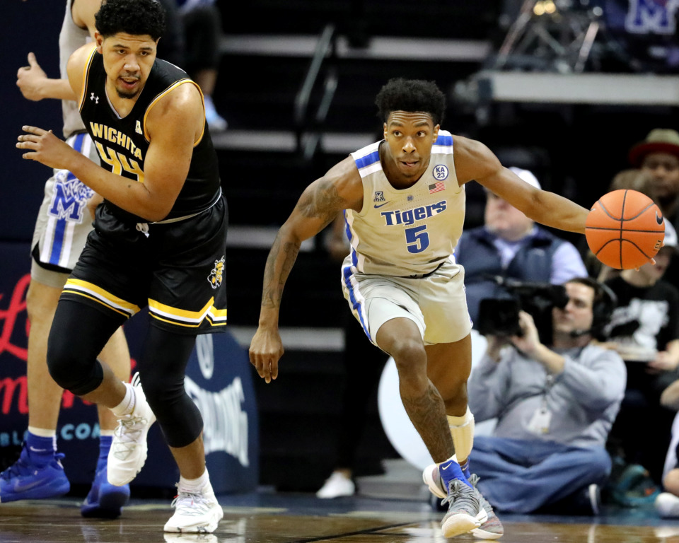 <strong>University of Memphis Tigers guard Kareem Brewton Jr. (5) drives down the court during a game against the Wichita State Shockers on Thursday, Jan. 3, 2019.</strong> (Houston Cofield/Daily Memphian)