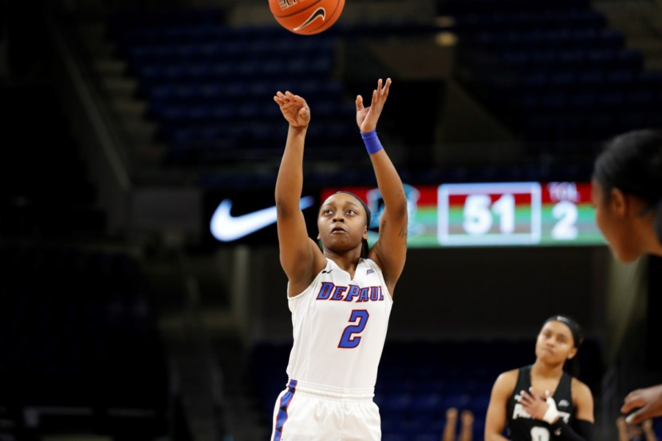 <strong>Maya Stovall has transferred to Memphis from DePaul.&nbsp;In her three seasons at DePaul, Stovall appeared in 59 games with 14 starts.</strong> (Steve Woltmann/DePaul Athletics)