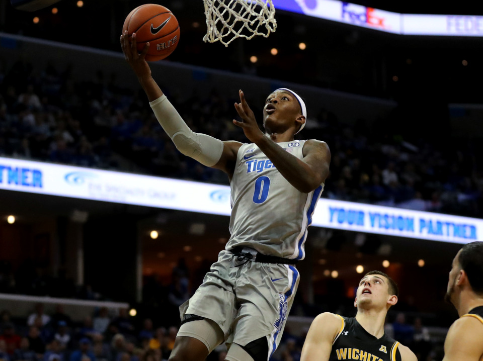 <strong>University of Memphis Tigers forward Kyvon Davenport (0) drives to the basket for a layup during a game against the Wichita State Shockers on Thursday, Jan. 3, 2019.</strong> (Houston Cofield/Daily Memphian)