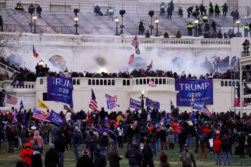 <strong>Rioters loyal to President Donald Trump storm the U.S. Capitol in Washington on Wednesday, Jan. 6.</strong> (John Minchillo/Associated Press)