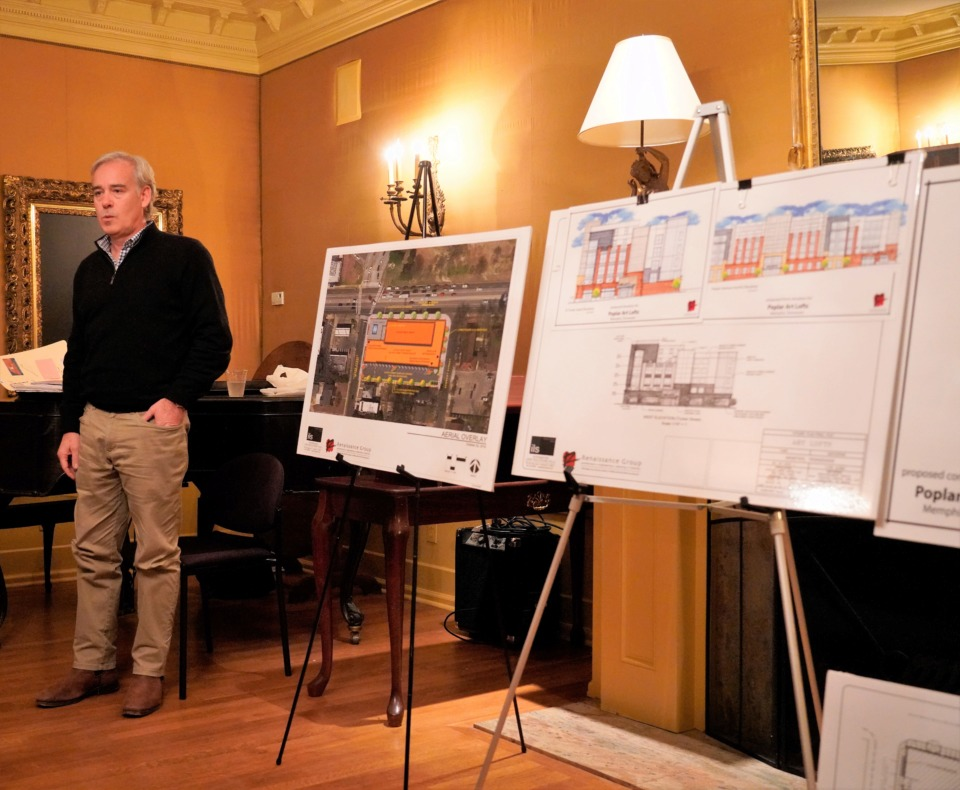 <strong>Developer Vince Smith addresses Midtown residents Thursday night with renderings of his proposed Art Lofts apartment complex at Poplar and Tucker across from Overton Park.</strong> (Tom Bailey/Daily Memphian)&nbsp;
