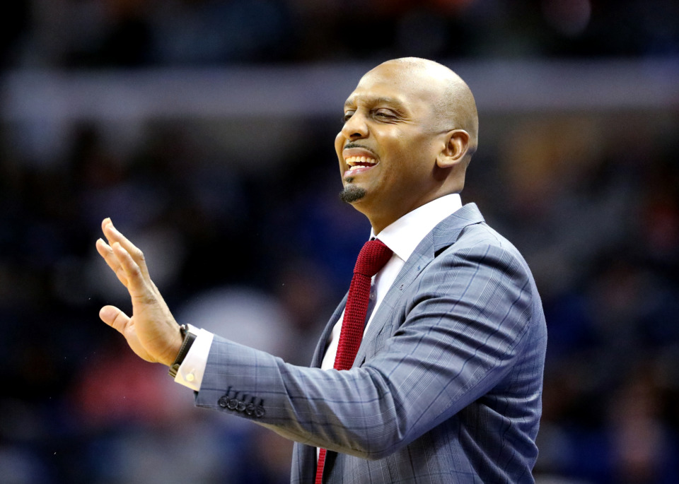 <strong>University of Memphis basketball coach Penny Hardaway tells his team to slow down on offense during a game against the Wichita State Shockers on Thursday, Jan. 3, 2019. The Tigers beat the Shockers 85-74.</strong> (Houston Cofield/Daily Memphian)