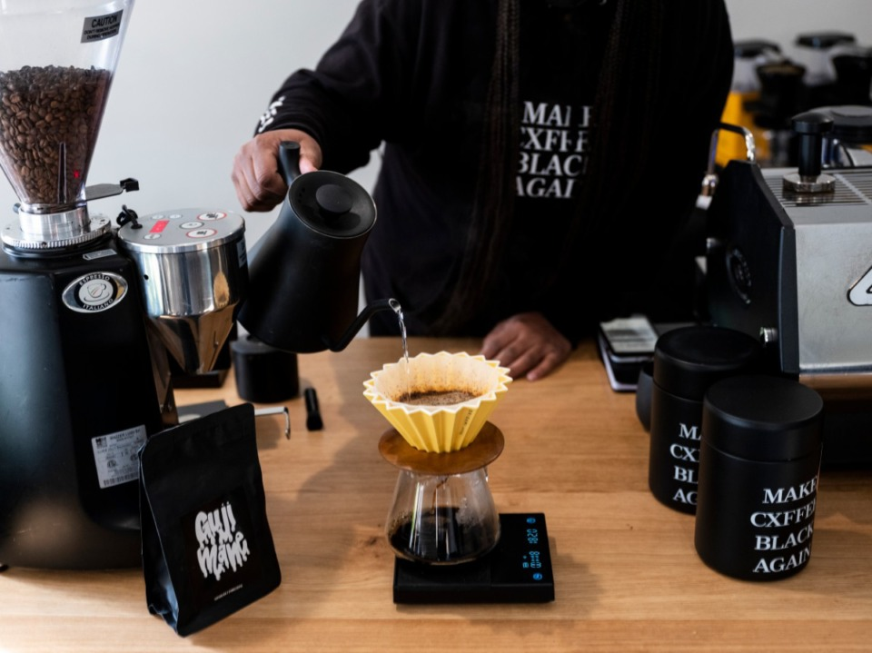 <strong>J.C. Cofield pours coffee at the recently opened Not a Coffee Shop at 761 National St.</strong>&nbsp;<strong>The shop is open Tuesdays-Thursdays.</strong> (Brad Vest/Special to Daily Memphian)