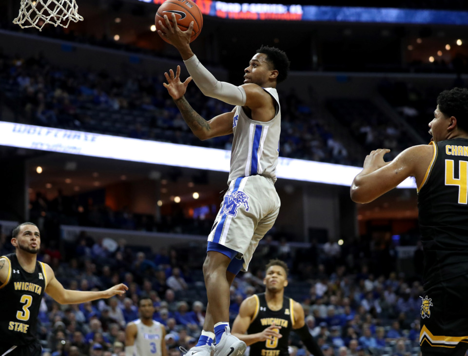 <strong>University of Memphis Tigers guard Tyler Harris (1) pulls up for a lay up during a game against the Wichita State Shockers on Thursday, Jan. 3, 2019. The Tigers beat the Shockers 85-74.</strong> (Houston Cofield/Daily Memphian)