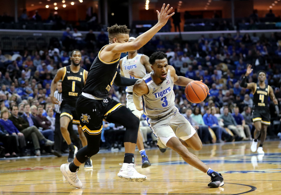<strong>University of Memphis Tigers guard Jeremiah Martin (3) drives to the basket during a game against the Wichita State Shockers on Thursday, Jan. 3, 2019. The Tigers beat the Shockers 85-74.</strong> (Houston Cofield/Daily Memphian)