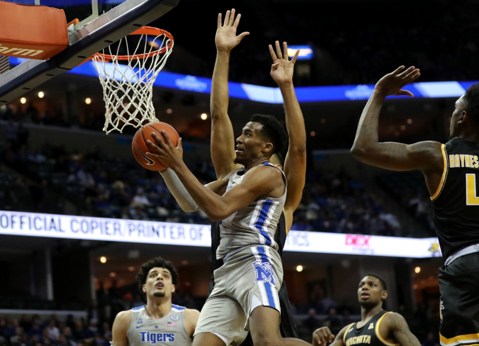 <strong>University of Memphis Tigers guard Jeremiah Martin (3) drives for a lay up during a game against the Wichita State Shockers on Thursday, Jan. 3, 2019. The Tigers beat the Shockers 85-74.</strong> (Houston Cofield/Daily Memphian)