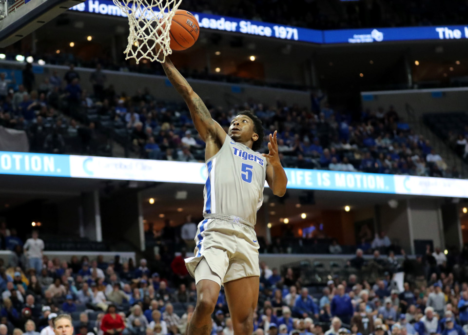 <strong>University of Memphis Tigers guard Kareem Brewton Jr. (5) jumps for a lay up during a game against the Wichita State Shockers on Thursday, Jan. 3, 2019. The Tigers beat the Shockers 85-74.</strong> (Houston Cofield/Daily Memphian)