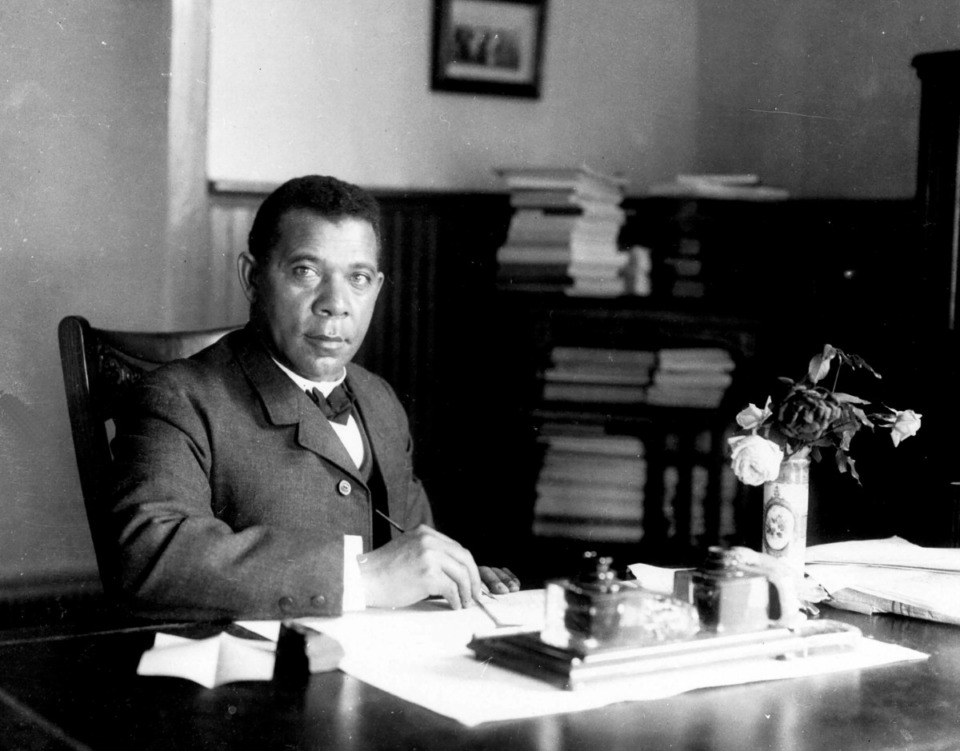 <strong>An 1894 photo captures Booker T. Washington, one of the historic figures who&rsquo;ll be depicted in&nbsp;&ldquo;Say it Loud&rdquo; a free program by Hatiloo Theatre.</strong> (Library of Congress via AP)