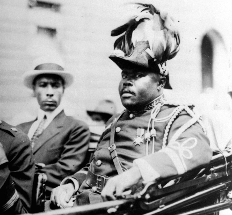 <strong>Marcus Garvey (in a 1922 Associated Press photo of a parade in Harlem) is one of the historic figures who&rsquo;ll be depicted in&nbsp;&ldquo;Say It Loud.&rdquo;&nbsp;</strong>(AP file)