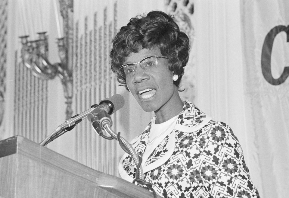 <strong>Shirley Chisholm (in a 1972 photo from her campaign for the U.S. Presidency) will be featured in the Hattiloo Theatre program.</strong> (Richard Drew/AP file)