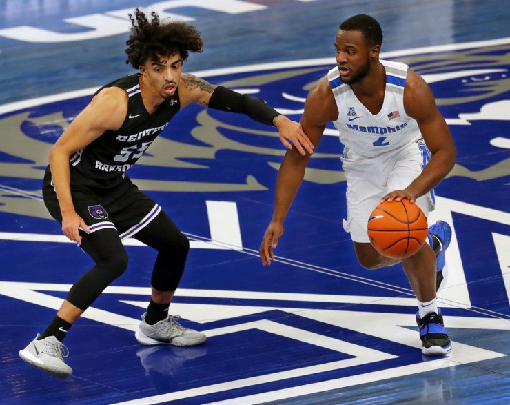 University of Memphis guard Alex Lomax (2) brought the ball up court during a December 2020 game against the University of Central Arkansas. Lomax leads Memphis in assist-to-turnover ratio and assists per game. (Patrick Lantrip/Daily Memphian file)