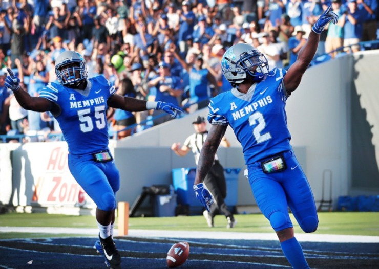 Former Tigers defensive back T.J. Carter (2), celebrated an interception against the Mercer Bears at the Liberty Bowl Memorial Stadium in 2018.(Daily Memphian file)