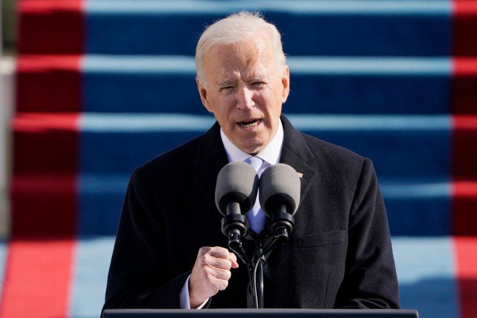 <strong>President Joe Biden speaks during the 59th Presidential Inauguration at the U.S. Capitol in Washington, Wednesday, Jan. 20, 2021.&nbsp;</strong>(AP Photo/Patrick Semansky, Pool)