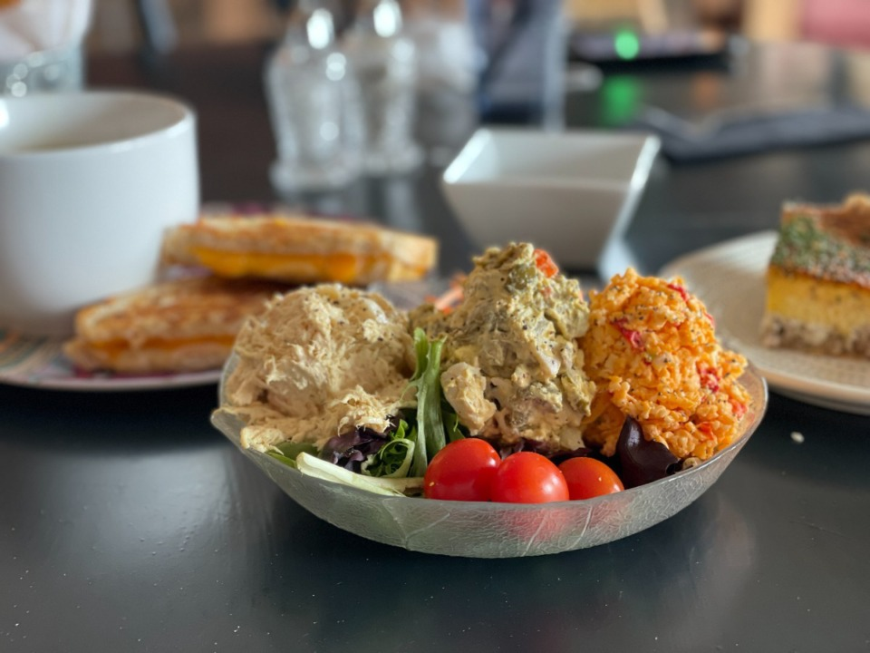 <strong>A salad plate (center), with soup and grilled cheese (left) and sausage and cream cheese quiche (right) are served at Bread &amp; Butter Bistro.</strong>&nbsp;(Jennifer Biggs/Daily Memphian)