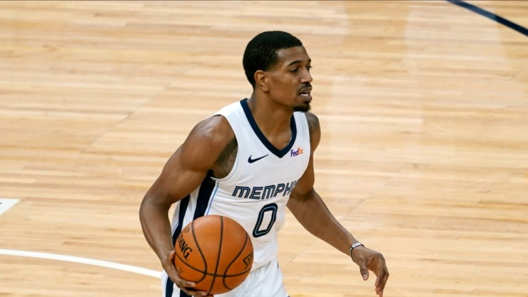 Memphis Grizzlies' De'Anthony Melton (0) plays against the Minnesota Timberwolves in an NBA basketball game, Wednesday, Jan. 13, 2021, in Minneapolis. (Jim Mone/AP)