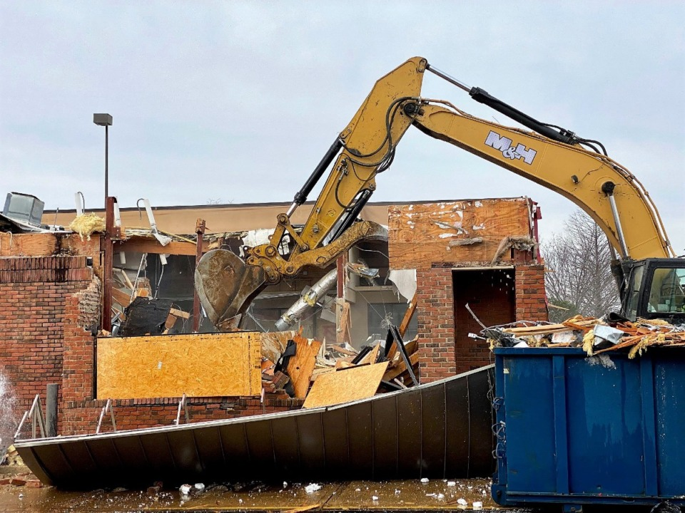 <strong>Demolition was well underway Thursday, Jan. 21, on the old Chick-fil-A building at 2849 N. Germantown Parkway.</strong> (Tom Bailey/Daily Memphian)