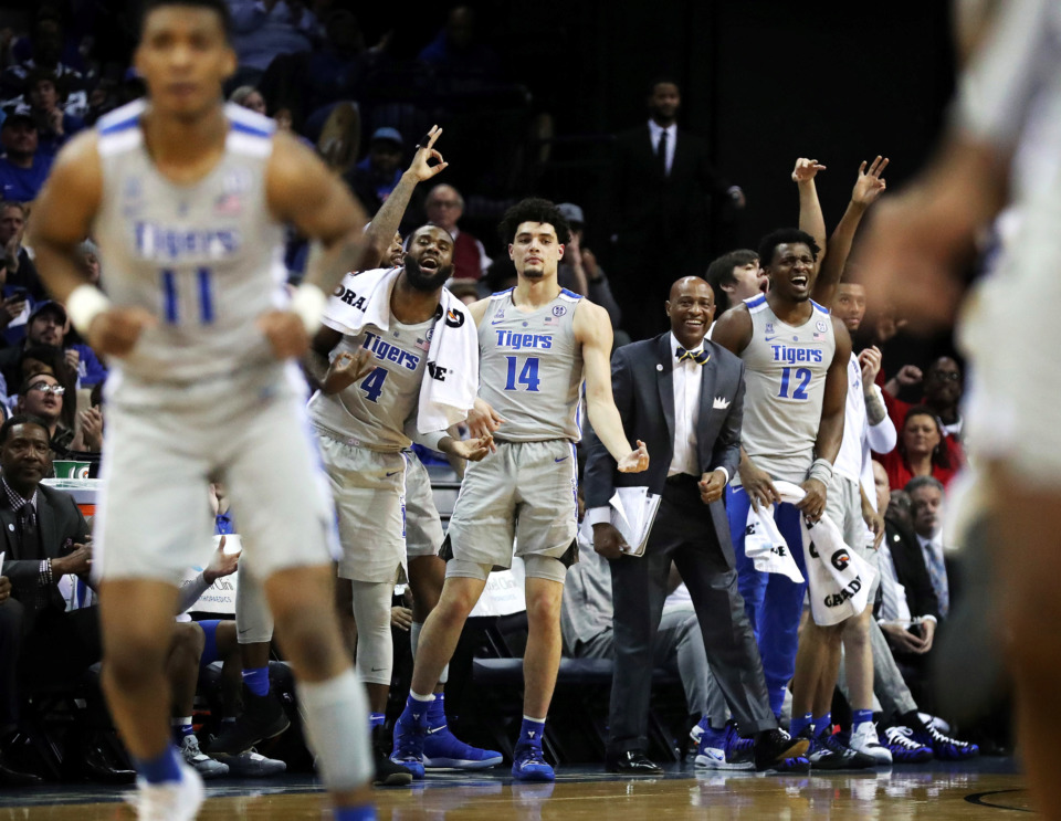 <strong>The University of Memphis bench celebrates after a Tigers basket during a game against the Wichita State Shockers on Jan. 3, 2019.&nbsp;The Tigers won and now face No. 19 Houston on Sunday, Jan. 6.</strong> (Houston Cofield/Daily Memphian)