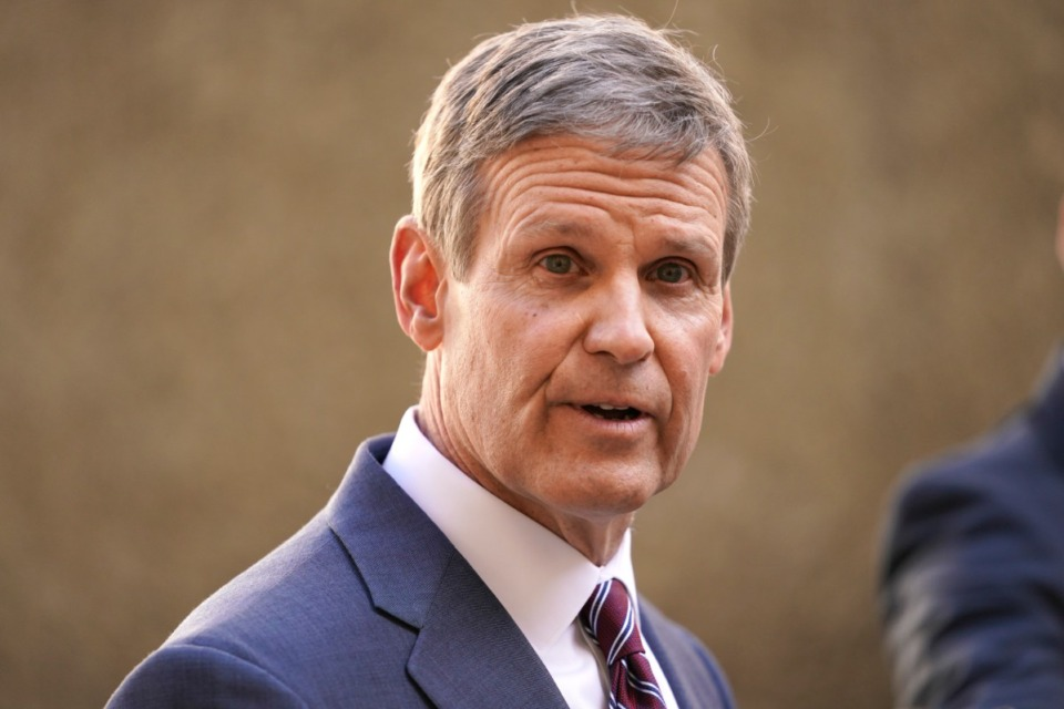 <strong>Tennessee Gov. Bill Lee speaks to reporters Tuesday, Jan. 19, 2021, in Nashville, Tennessee.</strong> (AP Photo/Mark Humphrey)