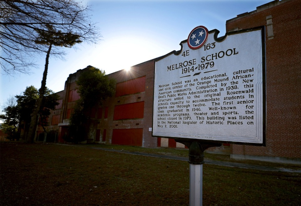 <strong>The shuttered former site of Melrose School, seen on Jan. 21, 2021, has sat empty for more than 40 years.</strong> (Patrick Lantrip/Daily Memphian)