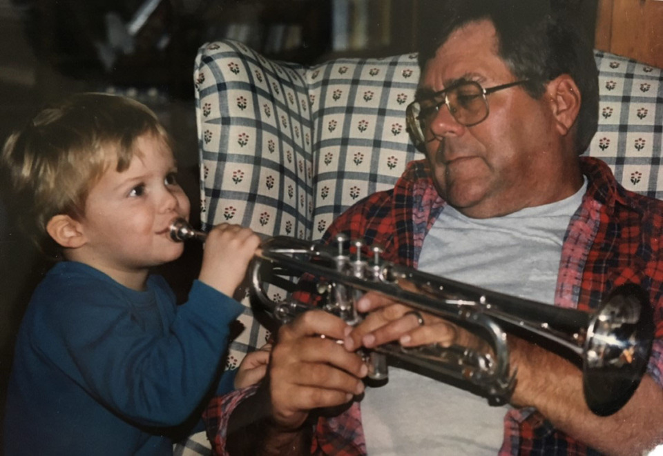 <strong>Joe Sills shows his son, also named Joe, the 1956 F.E. Olds trumpet that he played at Memphis State in &ldquo;The Mighty Sound of the South&rdquo; and at sidegigs with the Bar-Kays in the 1960s.</strong> (Submitted)