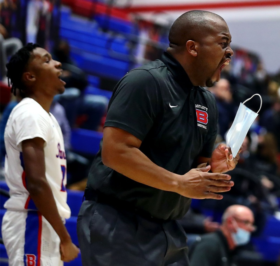 <strong>Bartlett coach Dion Real reacts to a call during the Jan. 21, 2021, game against Houston.</strong> (Patrick Lantrip/Daily Memphian)