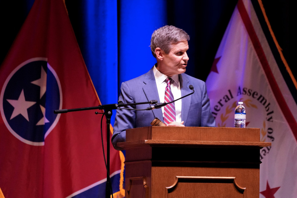 <strong>Tennessee Gov. Bill Lee speaks to a joint session of the legislature at the start of a special session on education, Tuesday, Jan. 19, 2021, in Nashville, Tenn.</strong> (AP Photo/Mark Humphrey)