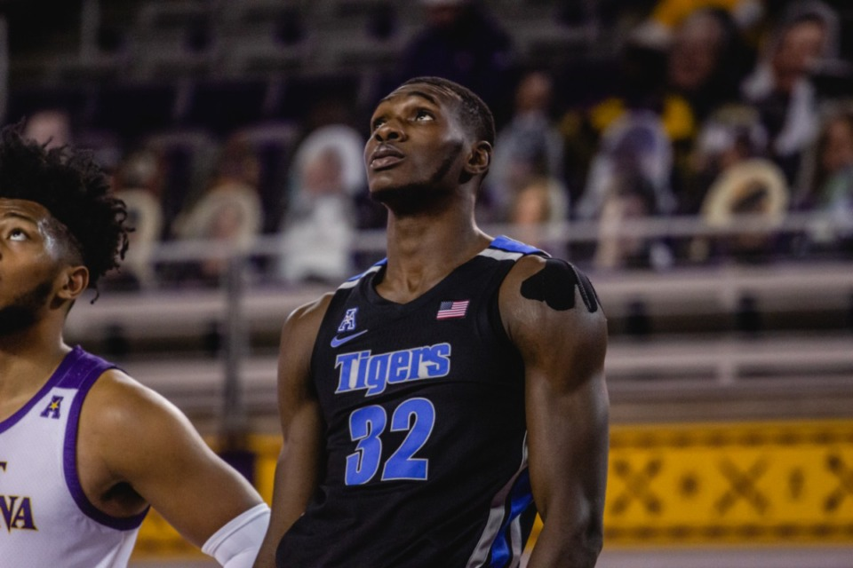 <strong>Freshman Moussa Cisse followed up his double-double against Wichita State with 15 points (7 of 13) and nine rebounds in 24 minutes against ECU, Sunday, Jan. 24, at Greenville N.C.</strong> (Houston McCullough/ECU Athletics)&nbsp;