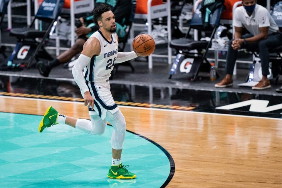 <strong>Memphis Grizzlies guard Dillon Brooks (24) brings the ball up court against the Charlotte Hornets during an NBA basketball game in Charlotte, N.C., Friday, Jan. 1, 2021</strong>. (Jacob Kupferman/AP)