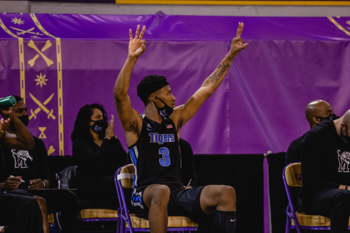 <strong>Landers Nolley II celebrates at the University of Memphis Tigers game against East Carolina, Sunday, Jan. 24, 2021 at Greenville, N.C.</strong> (Houston McCullough/ECU Athletics)