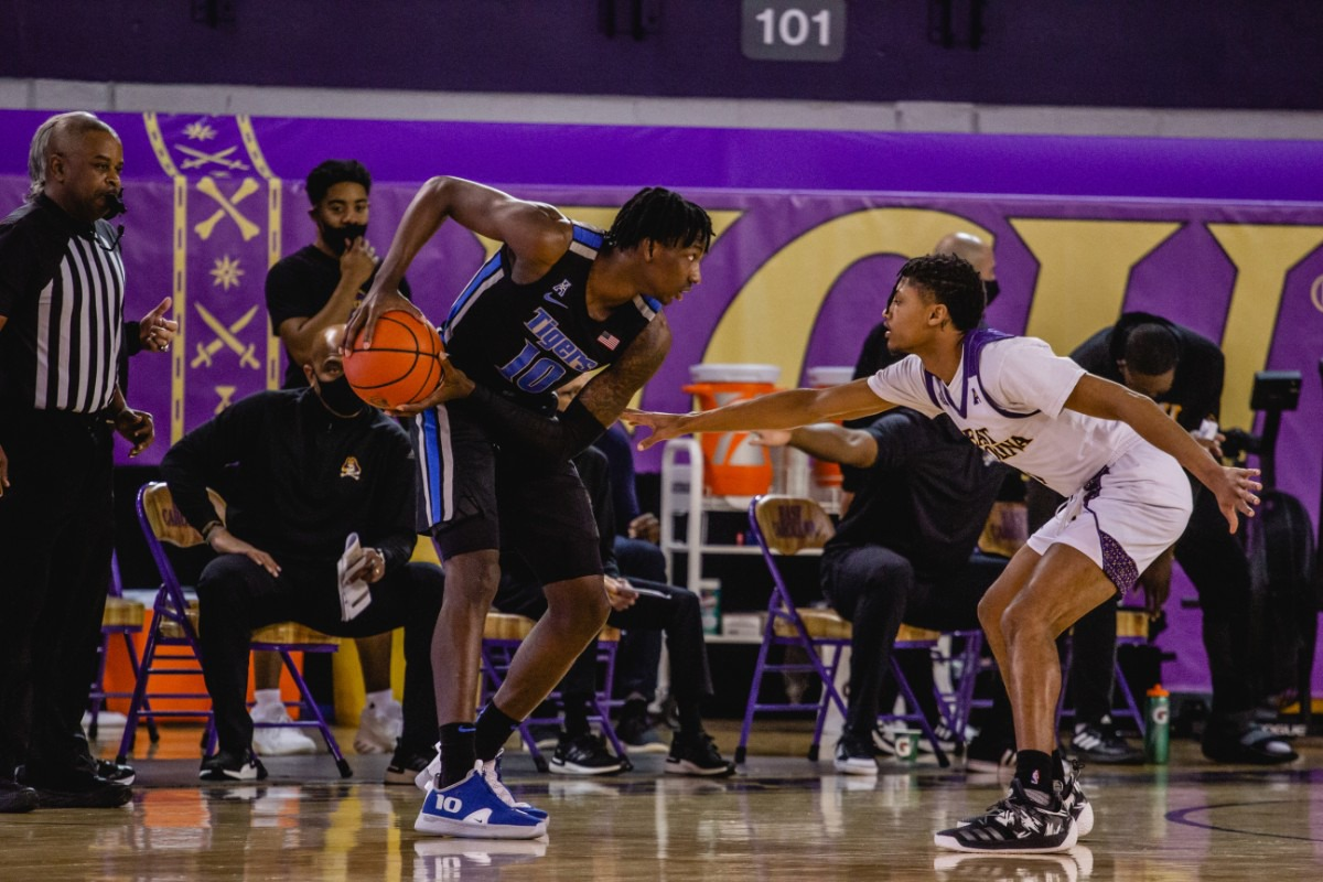 <strong>Damion Baugh controls the ball at the University of Memphis Tigers game against East Carolina, Sunday, Jan. 24, 2021 at Greenville, N.C.</strong> (Houston McCullough/ECU Athletics)