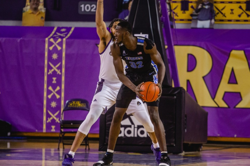 <strong>Mousse Cisse looks for an opening at the University of Memphis Tigers game against East Carolina, Sunday, Jan. 24, 2021 at Greenville, N.C.</strong> (Houston McCullough/ECU Athletics)