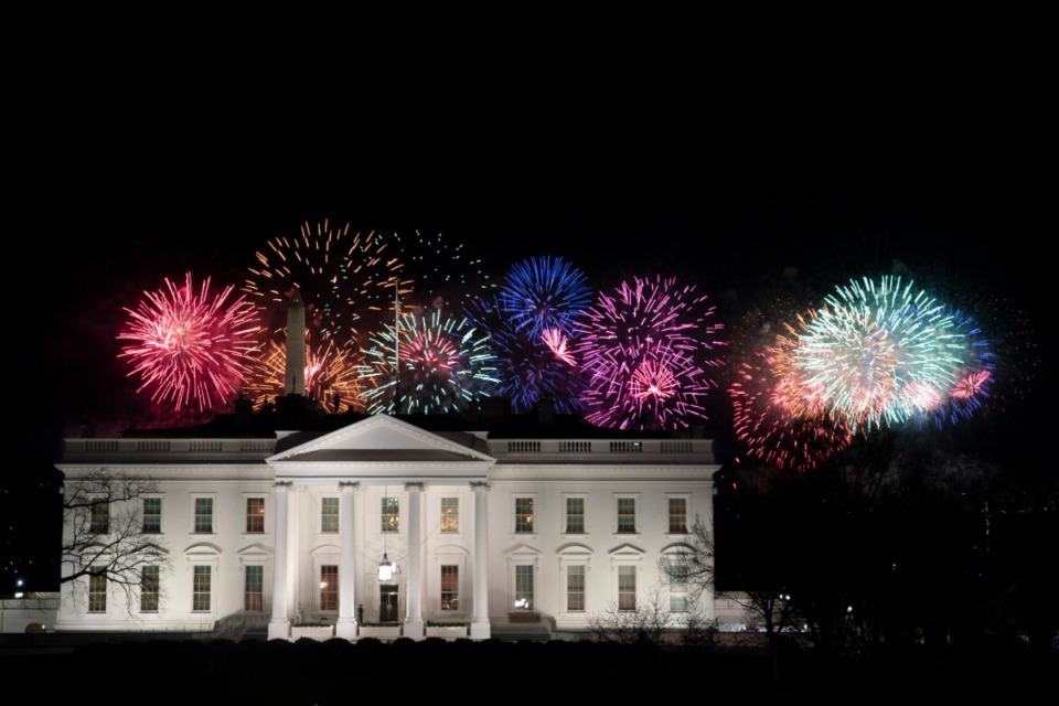 <strong>Fireworks glow over the White House as part of Inauguration Day ceremonies for President Joe Biden and Vice President Kamala Harris, Wednesday, Jan. 20, 2021, in Washington.</strong> (David J. Phillip/AP)