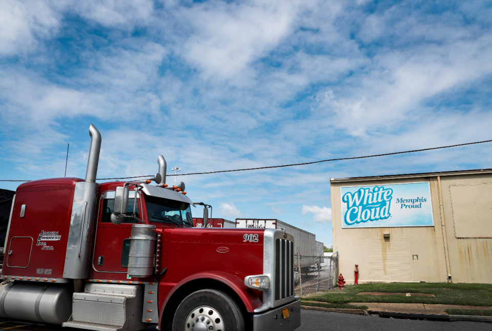 <strong>A truck drives by the Kruger Inc. plant on March 31, 2020. Kruger makes 1 million rolls of toilet paper a day in North Memphis.</strong> (Mark Weber/ The Daily Memphian file)