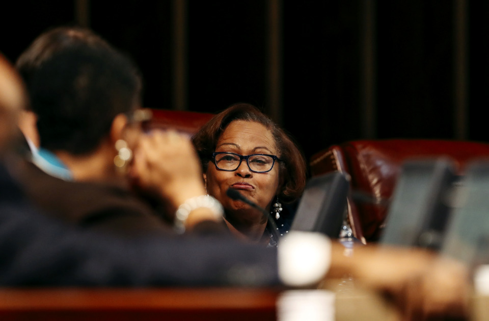 <strong>City Councilwoman Patrice Robinson reacts to a colleague's statement during a brief council meeting attempting to fill the District 1 vacancy Dec. 4, 2018. Robinson wants a special election to fill the three vacant council seats.</strong> (Houston Cofield/Daily Memphian)