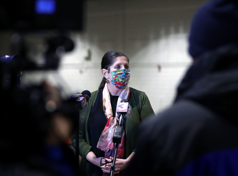 <strong>Shelby County Health Department director Alisa Haushalter faces questions from the media during a press conference at the Pipkin Building addressing complaints about the slow rollout of the COVID-19 vaccine Jan. 27, 2021.</strong> (Patrick Lantrip/Daily Memphian)