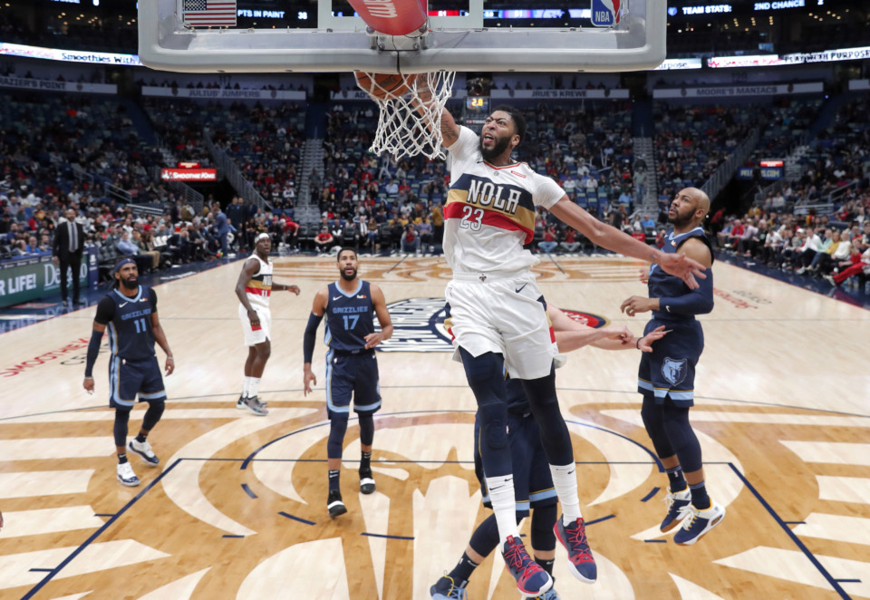 <span><strong>New Orleans Pelicans forward Anthony Davis (23) slam-dunks during a game against the Memphis Grizzlies in New Orleans, Monday, Jan. 7, 2019. The Grizzlies fell 114-95.</strong> (AP Photo/Gerald Herbert)</span>