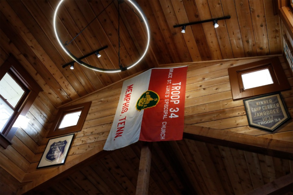 <strong>Old photos and artifacts line the walls inside the Boy Scout Troop 34 Lodge on Peabody. The troop at Grace-St. Luke&rsquo;s Episcopal Church is celebrating 100 years.</strong> (Mark Weber/Daily Memphian)