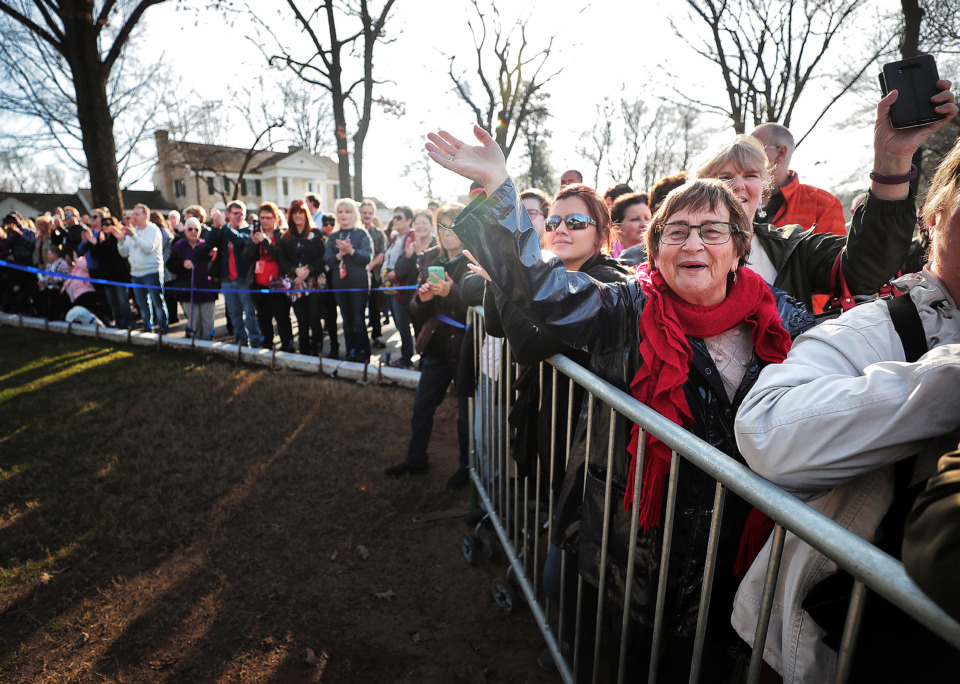 <strong>Elvis fans gather at Graceland on Jan. 8, 2019, to celebrate the King of Rock &rsquo;n' Roll's 84th birthday during the annual birthday proclamation and cake cutting ceremony on the front lawn.</strong> (Jim Weber/Daily Memphian)