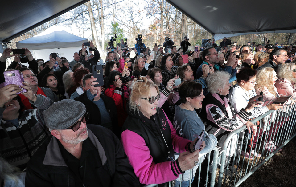 """<strong>Elvis fans sing """"Happy Birthday"""" as they gather at Graceland on Jan. 8, 2019, to celebrate the King of Rock &rsquo;n' Roll's 84th birthday during the annual birthday proclamation and cake cutting ceremony on the front lawn.</strong> (Jim Weber/Daily Memphian)"""