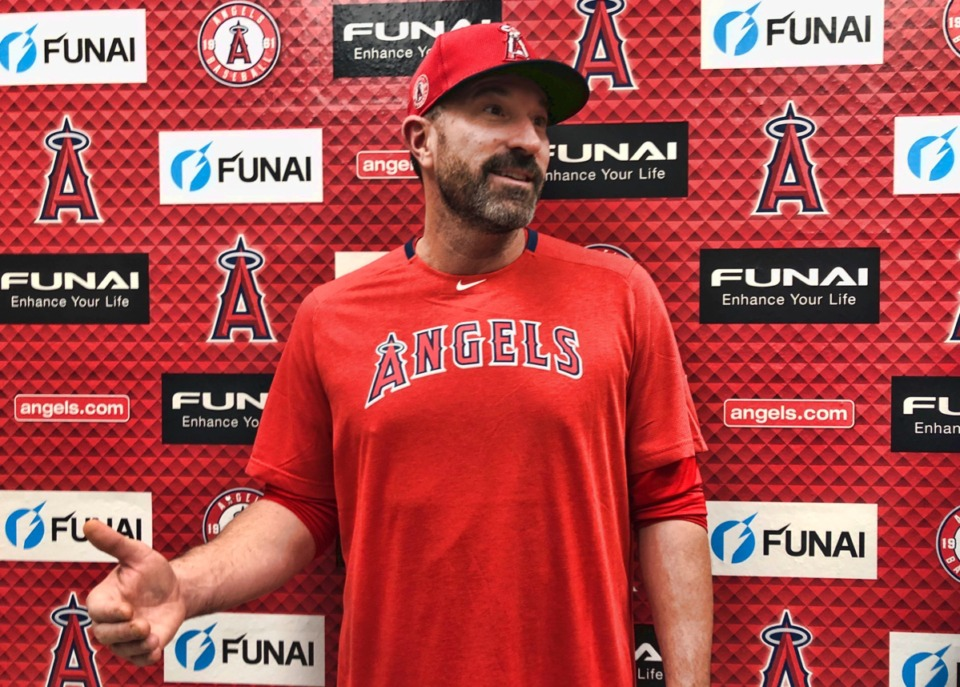 <strong>Los Angeles Angels pitching coach Mickey Callaway speaks about his philosophies outside the clubhouse at Tempe Diablo Stadium in Tempe, Ariz., on Friday, Feb. 14, 2020.</strong>&nbsp;(Greg Beacham/AP)