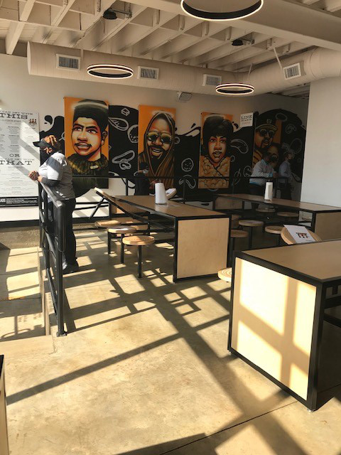 <strong>The interior of&nbsp;Slim &amp; Husky&rsquo;s features portraits of Ida B. Wells, Isaac Hayes, Aretha Franklin and 8Ball &amp; MJG.</strong> (Peggy Burch/Daily Memphian)