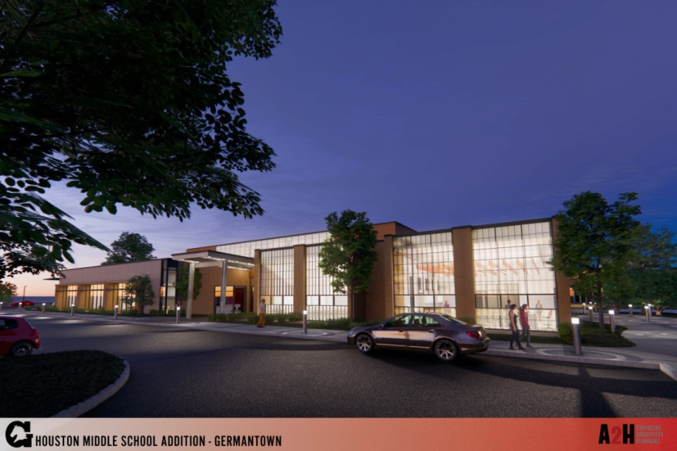 <strong>Plans for Houston Middle include a main entry with a secured entrance. The entrance will shift to Johnson Road.</strong> (Submitted)
