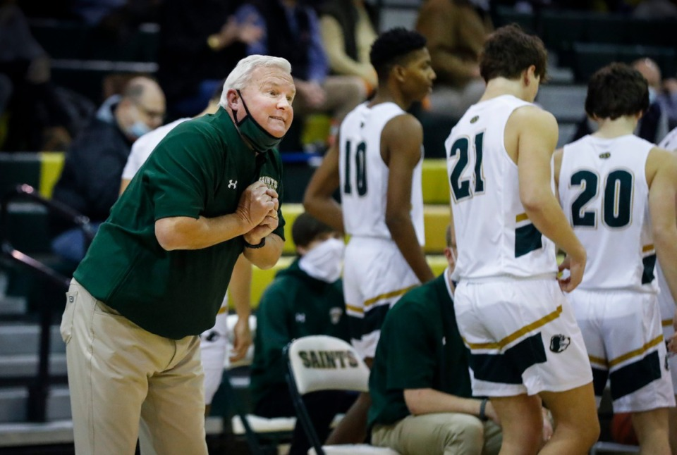 <strong>Briarcrest head coach John Harrington instructs his players during a break in the game against MUS on Tuesday, Feb. 2, 2021.</strong> (Mark Weber/The Daily Memphian)