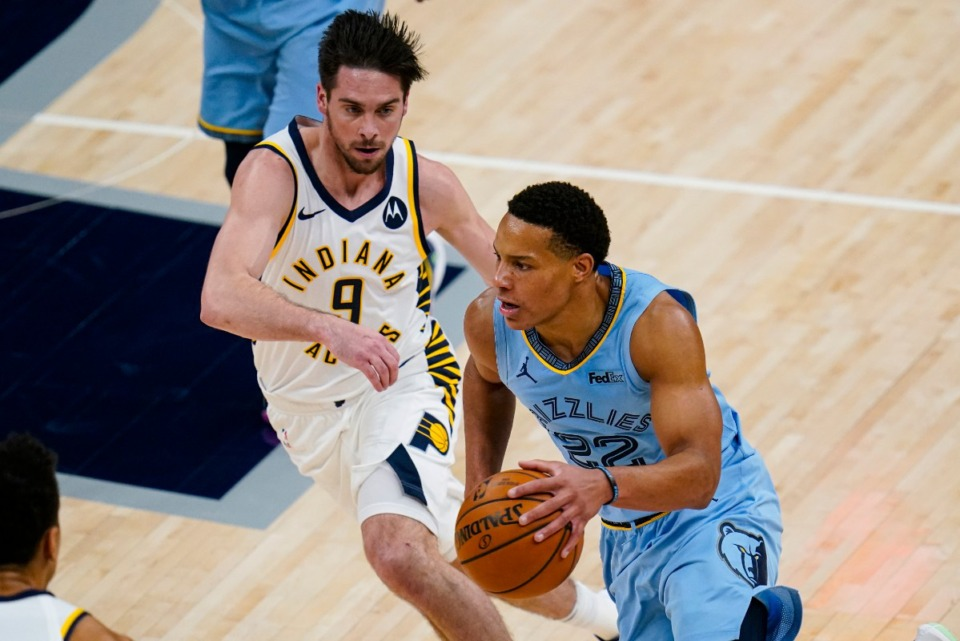 <strong>Memphis Grizzlies guard Desmond Bane (22) drives on Indiana Pacers guard T.J. McConnell (9) in Indianapolis, Tuesday, Feb. 2, 2021.</strong> (Michael Conroy/AP)