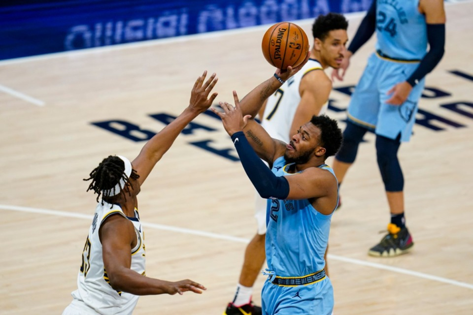 <strong>Memphis Grizzlies forward Xavier Tillman Sr. (2) shoots over Indiana Pacers center Myles Turner (33) in Indianapolis on Tuesday, Feb. 2, 2021.</strong> (AMichael Conroy/AP)